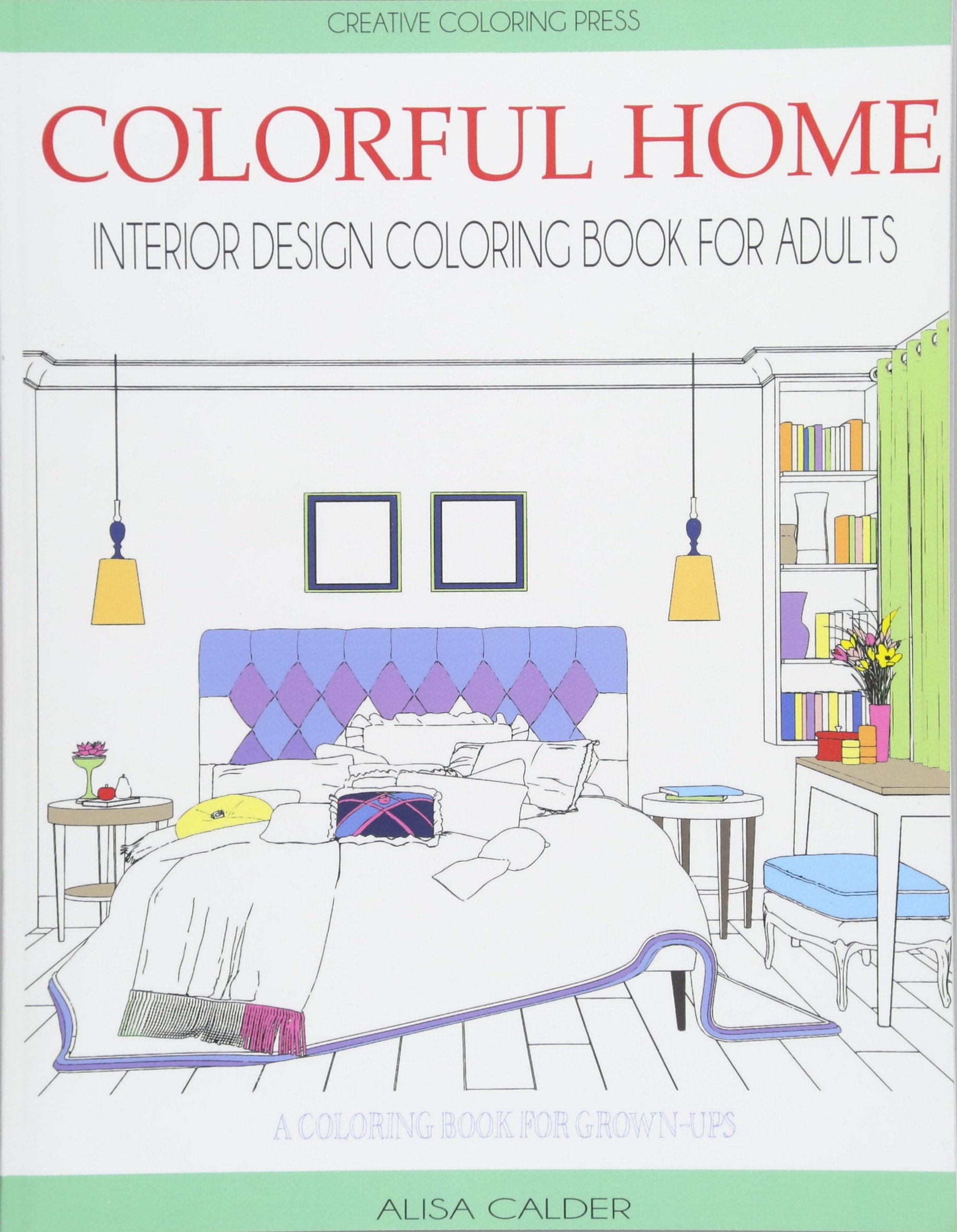 Colorful Home Interior Design Coloring Book for Adults House