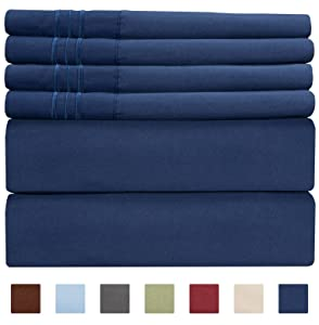 Extra Deep Pocket Sheets - 6 Piece Sheet Set - King Size Sheets Deep Pocket - Extra Deep Bed Sheets - Deep King Fitted Sheet Set - Super and Ultra Deep Sheets - For Deep Pockets Mattress - Fits Easily