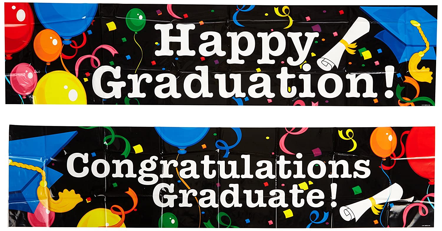 Beistle 2-Pack Graduation Banners 15-Inch by 5-Feet