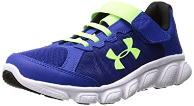 Under Armour Boy BPS Assert AC Sneaker Royal/White/Lime Stretch bungee laces and Velcro closure for easy on/off Upper uses light supportive foam between two soft layers of breathable mesh PYYHJKQ