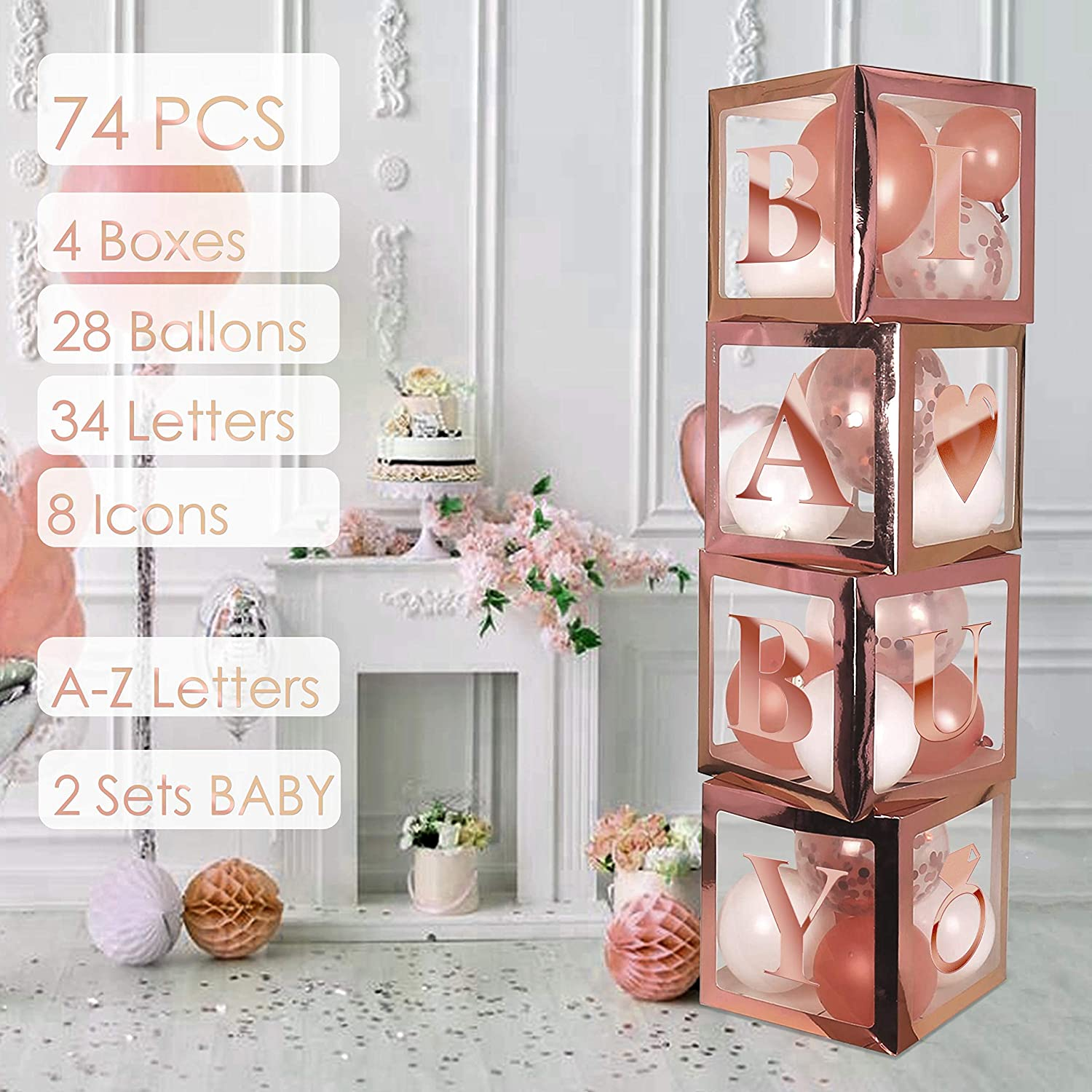 BaraBox Rose Gold Baby Shower Decor and Gender Reveal Party Supplies. Included - 4 Premium Rose Gold ABC Blocks 28 Balloons 26 Alphabet Letters 8 Party Icons 2 Baby Set for Girl and Boy Bithday