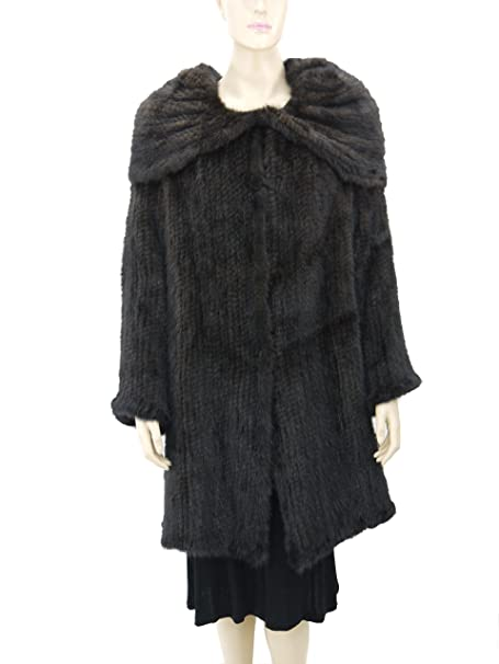 Amazon.com: Hima Knitted 100% chamarra de visón con Wrap ...