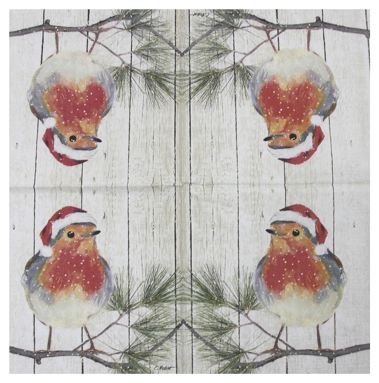 "CHRISTMAS ROBIN BRANCH ORANGE 3-PLY 20 PAPER NAPKINS SERVIETTES 13""x13"