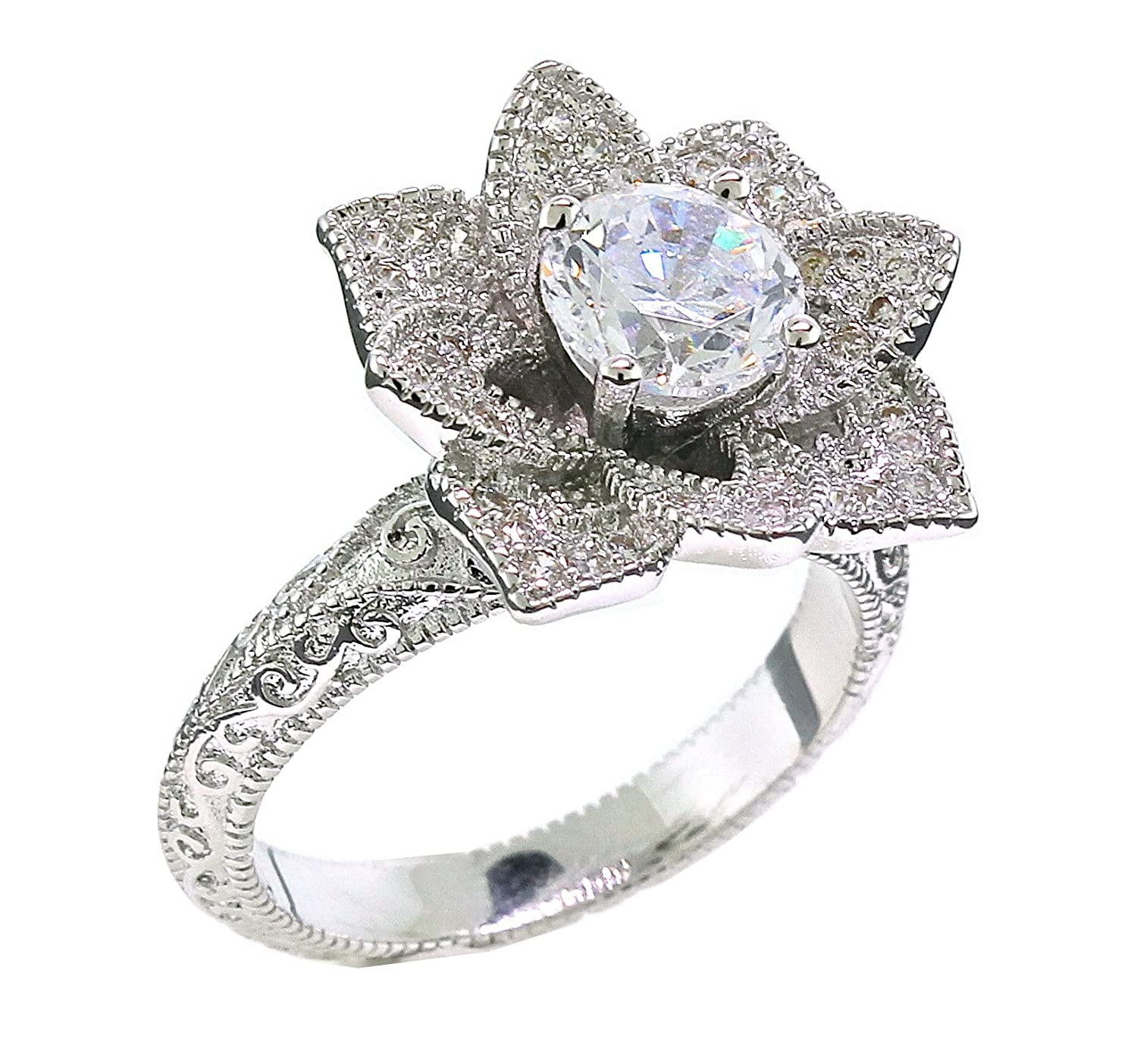 Blooming Lotus Flower Vintage Inspired Engagement Ring