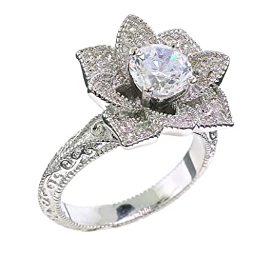 blooming lotus flower vintage inspired engagement ring size 5 - Vintage Inspired Wedding Rings