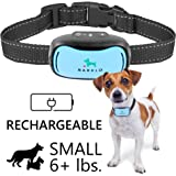 Small Dog Bark Collar by BARKLO Rechargeable And Waterproof Vibration Bark Collar for Small And Medium Dogs 6+lbs 5in-19in (Blue)
