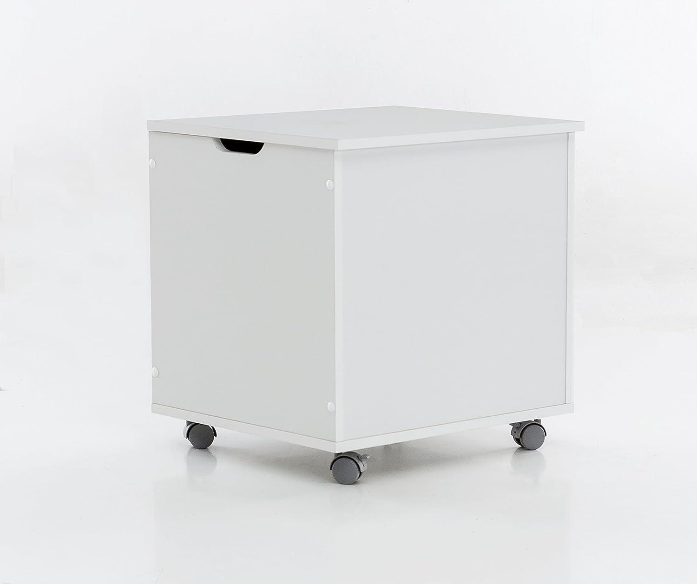 WILMES baúl Sobre Ruedas con Tapa, aglomerado, melamina Decoración en Blanco, 50 x 42 x 50,5 cm: Amazon.es: Hogar