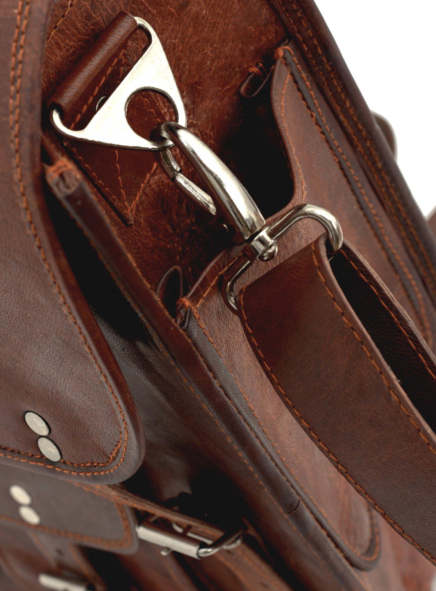 81stgeneration Men's Women's Genuine Large Leather Vertical Messenger Style Backpack Shoulder Bag by 81stgeneration (Image #5)