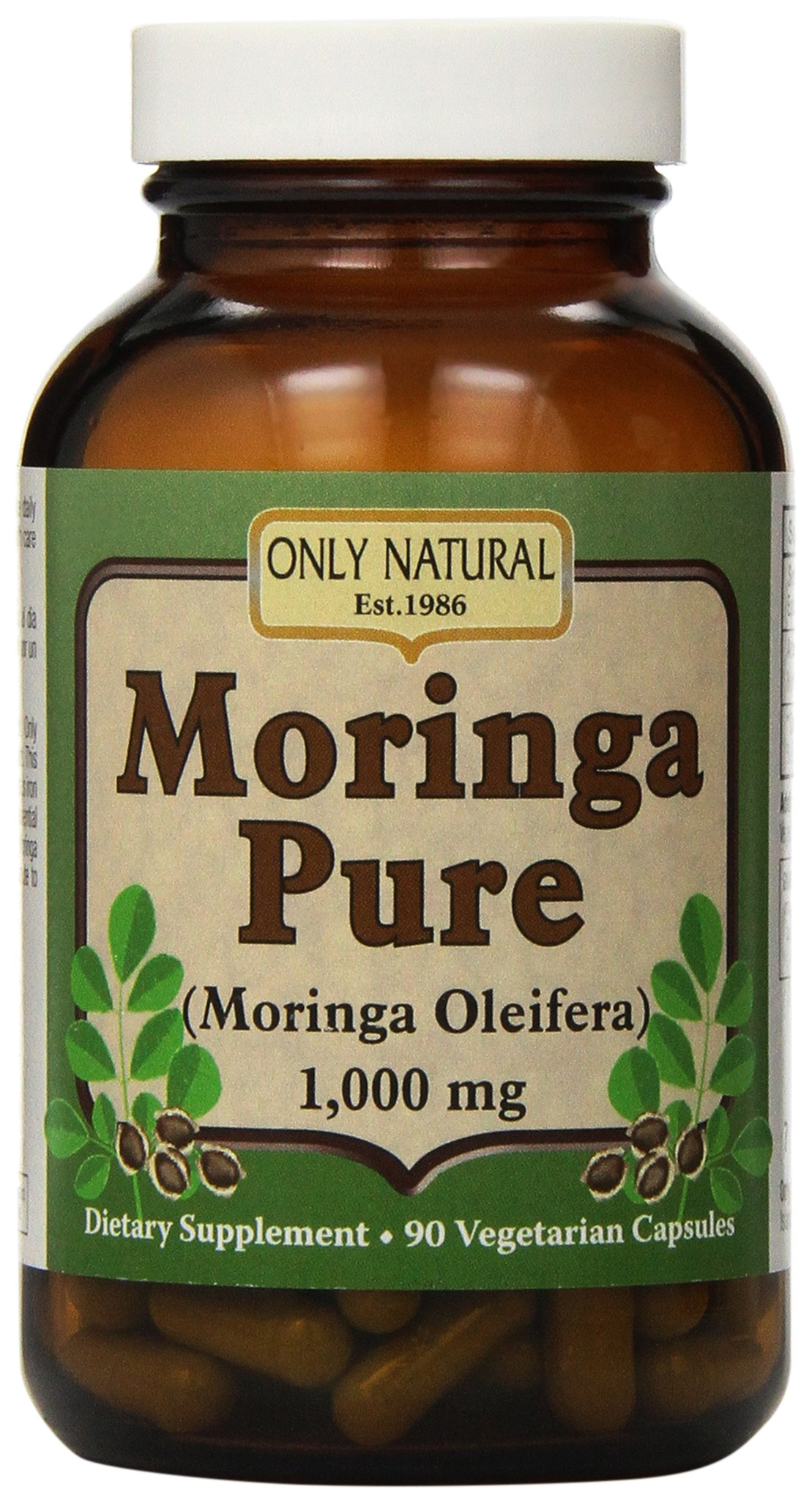 Only Natural Moringa Pure -- 1000 mg - 90 Vegetarian Capsules