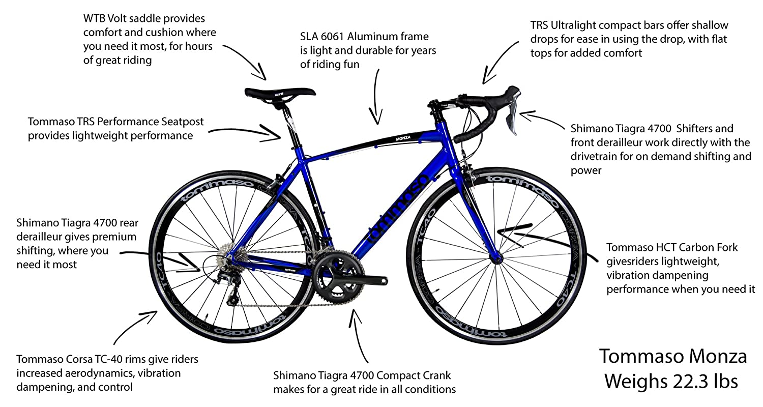Tommaso Monza Aluminum Shimano Tiagra Road Bike With A Giant Tcr Slr 3 M 2014 Wht Blue Carbon Fork Sports Outdoors