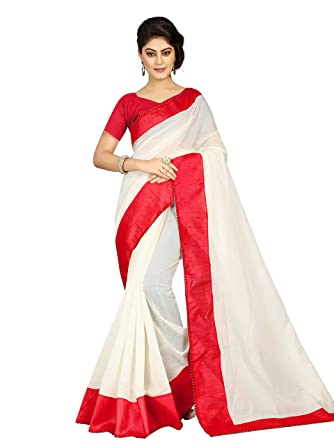 30e9336e65 Pramukh Suppliers Women's Cotton Saree With Blouse Piece (Jyotika Red  Saree_Red): Amazon.in: Clothing & Accessories