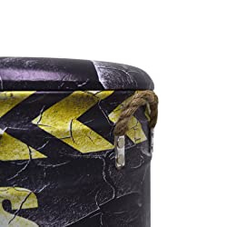 Mobili Rebecca® Pouf Repose-Pieds Metal PVC Marron Jaune Design Industriel Garage Living (Cod. RE4858)