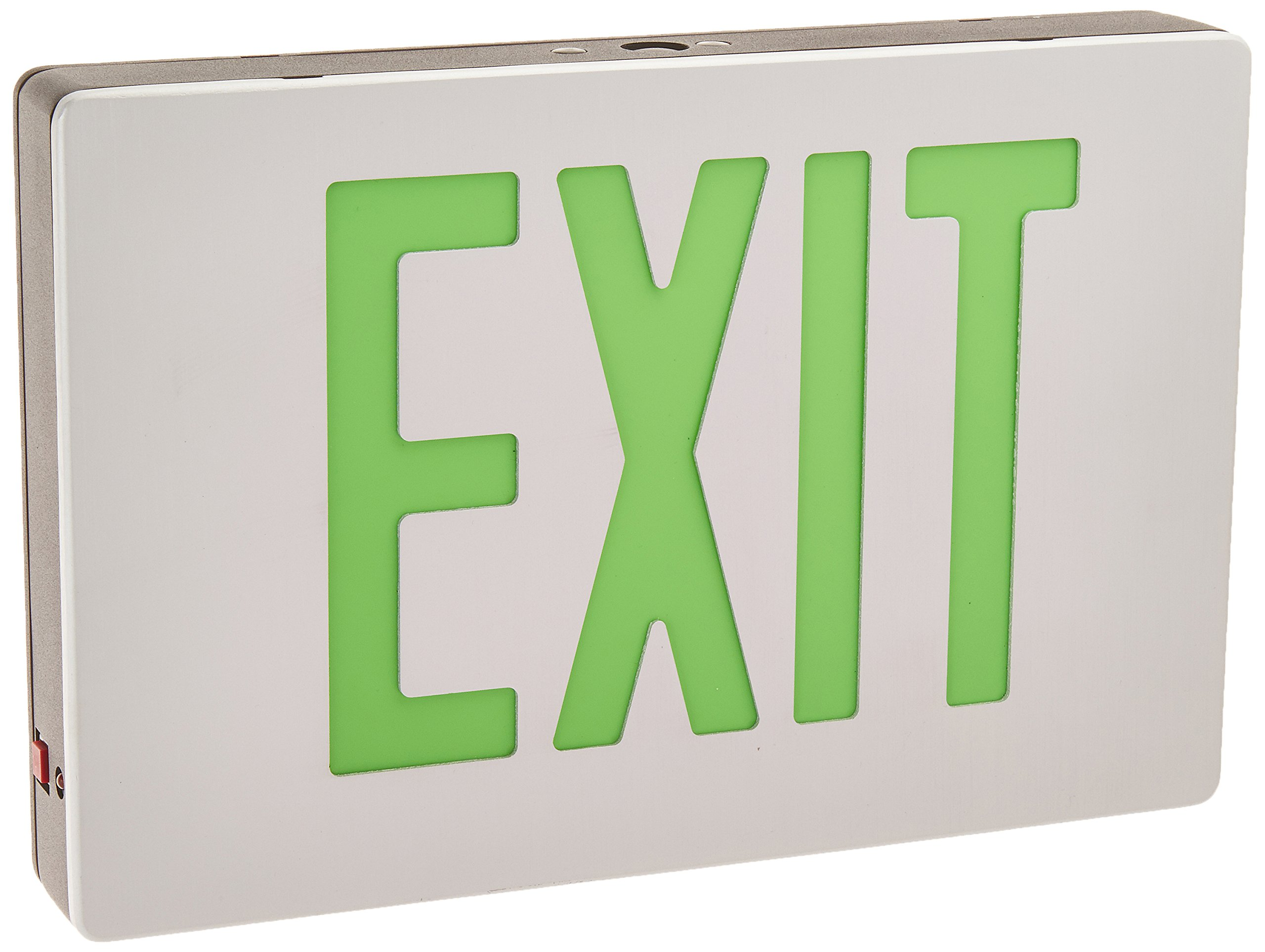Royal Pacific RXL15GBA Single Face, Die-Cast Exit Sign, Brushed Aluminum with Green Letters