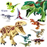 JZK 2 Grande dinosauro giocattolo + 8 dinosauro piccolo blocchi giocattoli minifigure set dinosauri bambini bomboniera regalo compleanno Natale per bambini