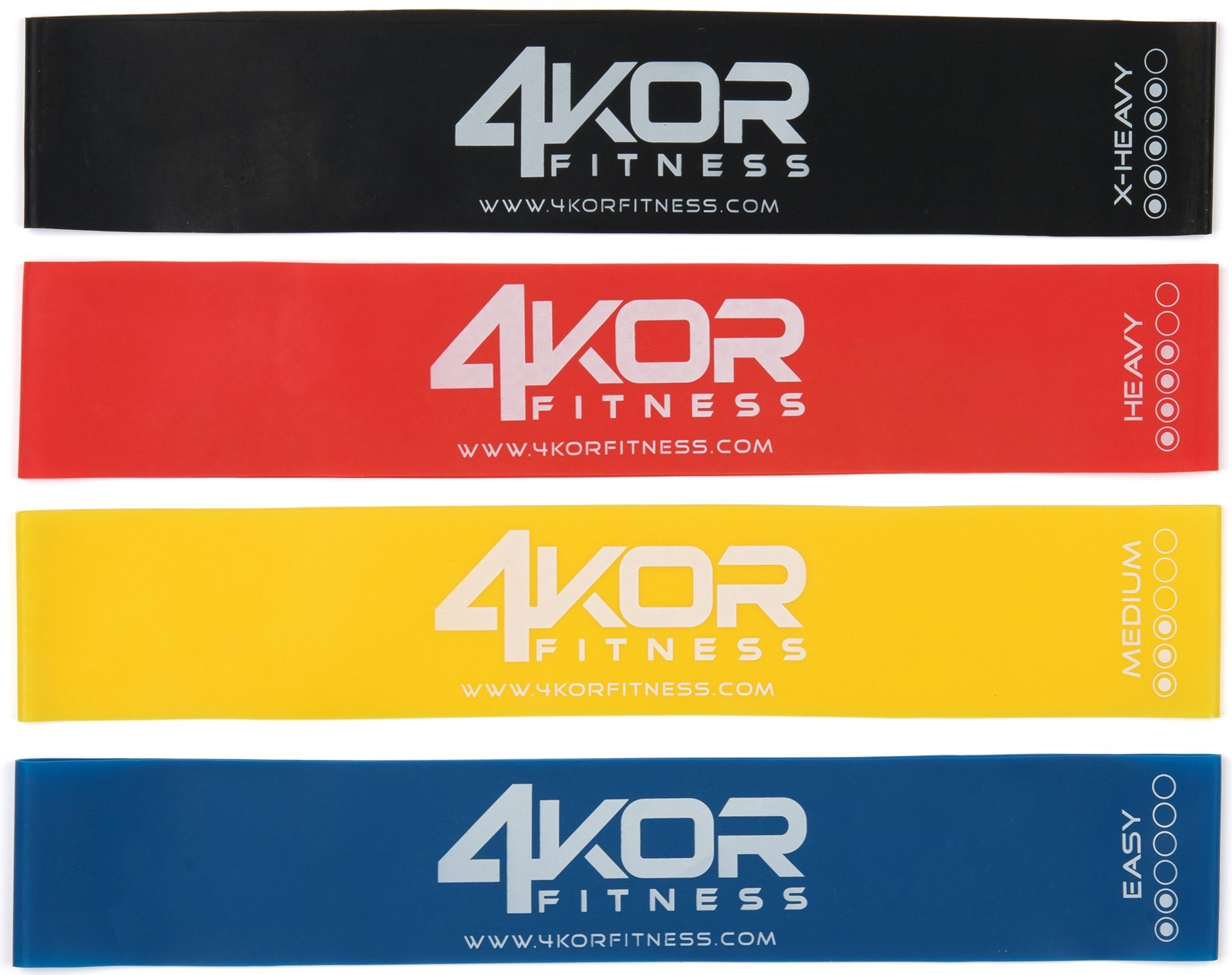 4KOR Fitness Resistance Loop Band Set, Perfect for Crossfit, Yoga, Physical Therapy, and Booty Building (4 Piece Set)