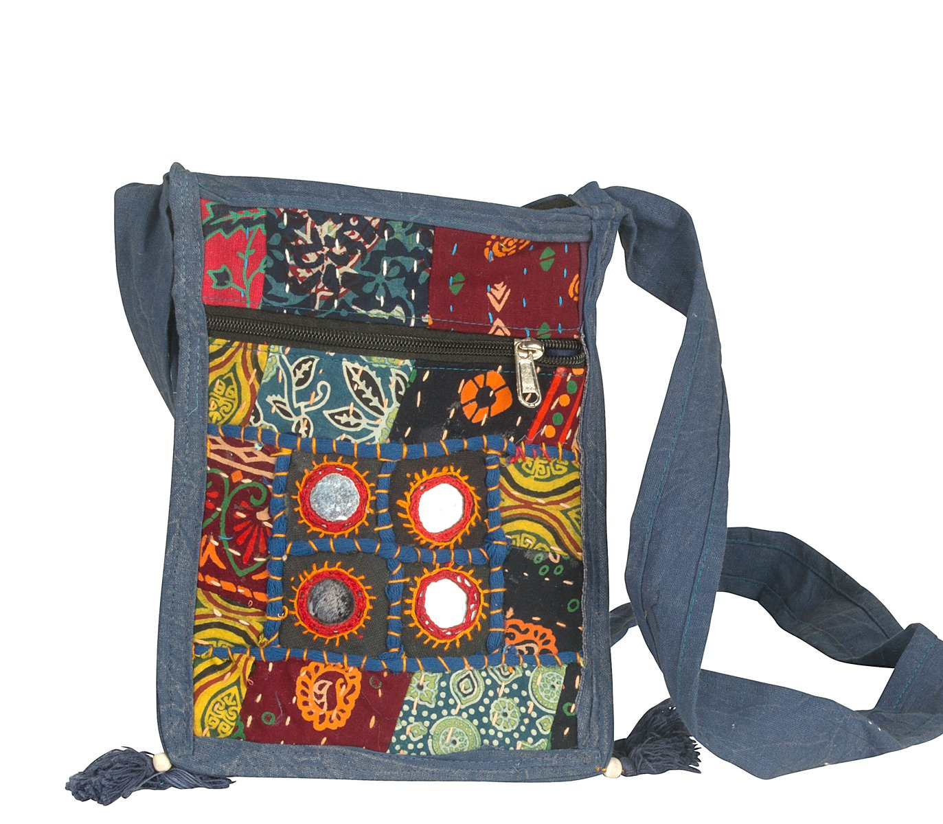 Small Messenger Crossbody Satchel Shoulder Bag Floral Purse Colorful Organizer Cellphone Ipad Hobo (Mirror Patchwork) by Tribe Azure Fair Trade (Image #1)