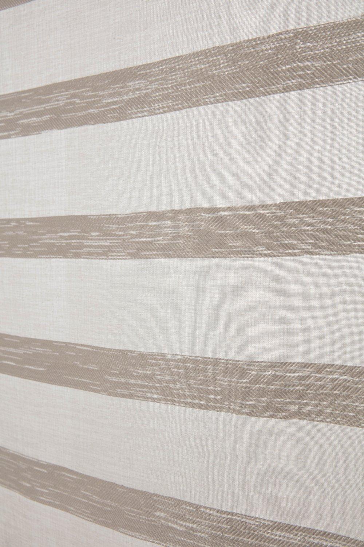 RideauDiscount Voilage Vitrage 90 x 190 cm Passe Tringle Effet Lin /à Rayures Horizontales Style Boh/ème Beige Argile