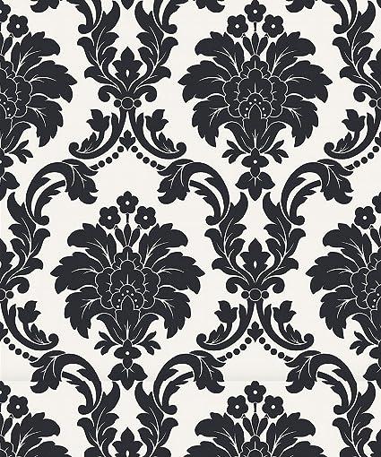 Arthouse Opera Romeo Black Wallpaper 693500 - Damask Metallic White Background: Amazon.in: Home Improvement