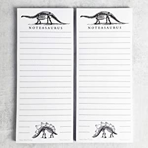 Dinosaur (Bones) Refrigerator Notepads, NOTE-A-SAURUS - Set of 2 Pads - Notes, To Do List, Grocery List