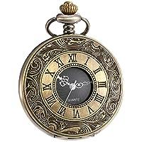 Vintage Roman Numerals Scale Quartz Pocket Watch with Chain