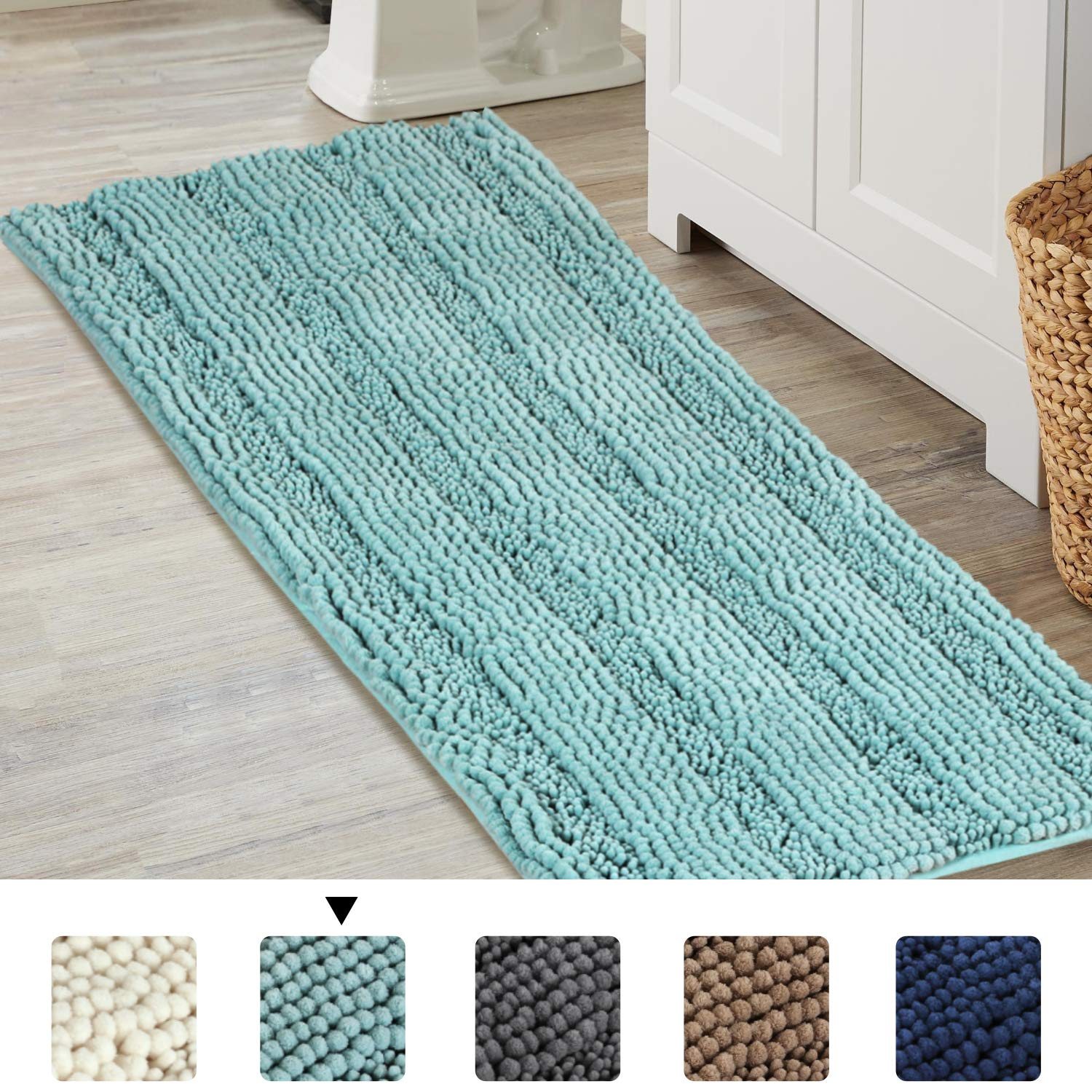 Bathroom Runner Rug Extra Long Chenille Area Rug Set Eggshell Blue Bathroom Kitchen Rug Mat Machine-Washable Bath mats Large Size 17x47 Inch, Duck Eggshell Blue