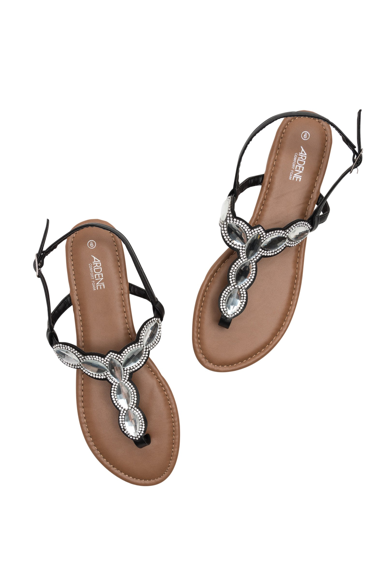 Ardene - Women's - T-Strap Sandals - Glass Jewel T-Strap Sandals 8 -(8A-FW01411)