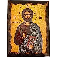Handmade Greek Christian Orthodox Wood icon of Jesus Christ Fotodotis (16 X 12 cm or 6.3 X 4.7 in)
