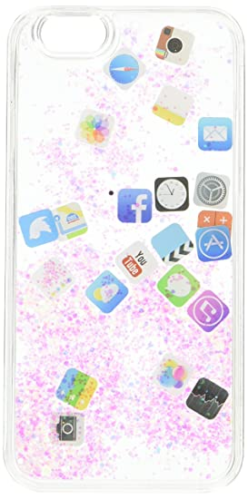 UnnFiko Liquid Glitter Case for iPhone 7 Plus, Hard Back Colorful Bling  Quicksand with iOS icon Apple APP Shine Phone Case for iPhone 8 Plus  (Silver