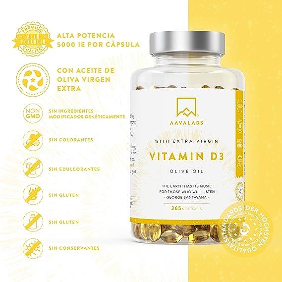 [ NOVEDAD ] Alta Dosis de Vitamina D3 [5000 IU] - con Aceite de Oliva Extra Virgen para una absorción óptima - Sin gluten ni lactosa - Favorece la función ...