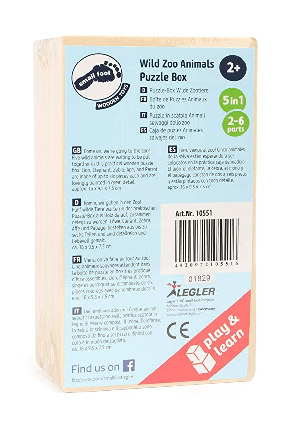 Small Foot 10551 - Caja de Puzzle para enigmáticas de un mono, Parrot, León, cebra y elefante hecho de madera, con diferentes niveles de dificultad, ...