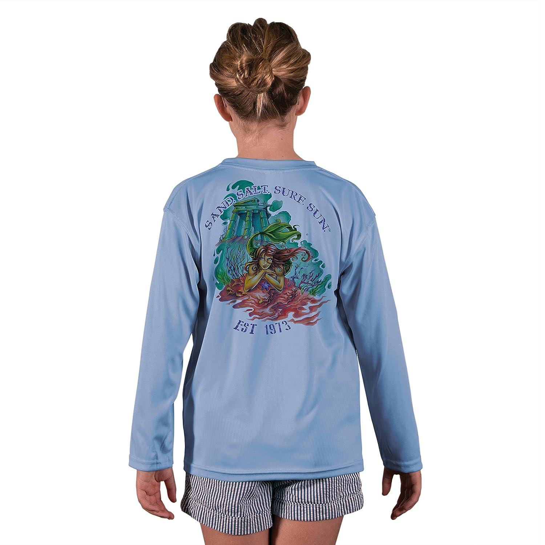 3f5fad696 SURF.SUN. Atlantis Mermaid Youth UPF 50+ UV/Sun Protection Long Sleeve T- Shirt: Clothing