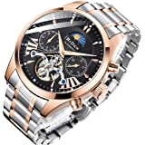 Bestn Mens Luxury Automatic Mechanical Wrist Watches Stainless Steel Moon Phrase Luminous Hands Skeleton Self-Wind Watch