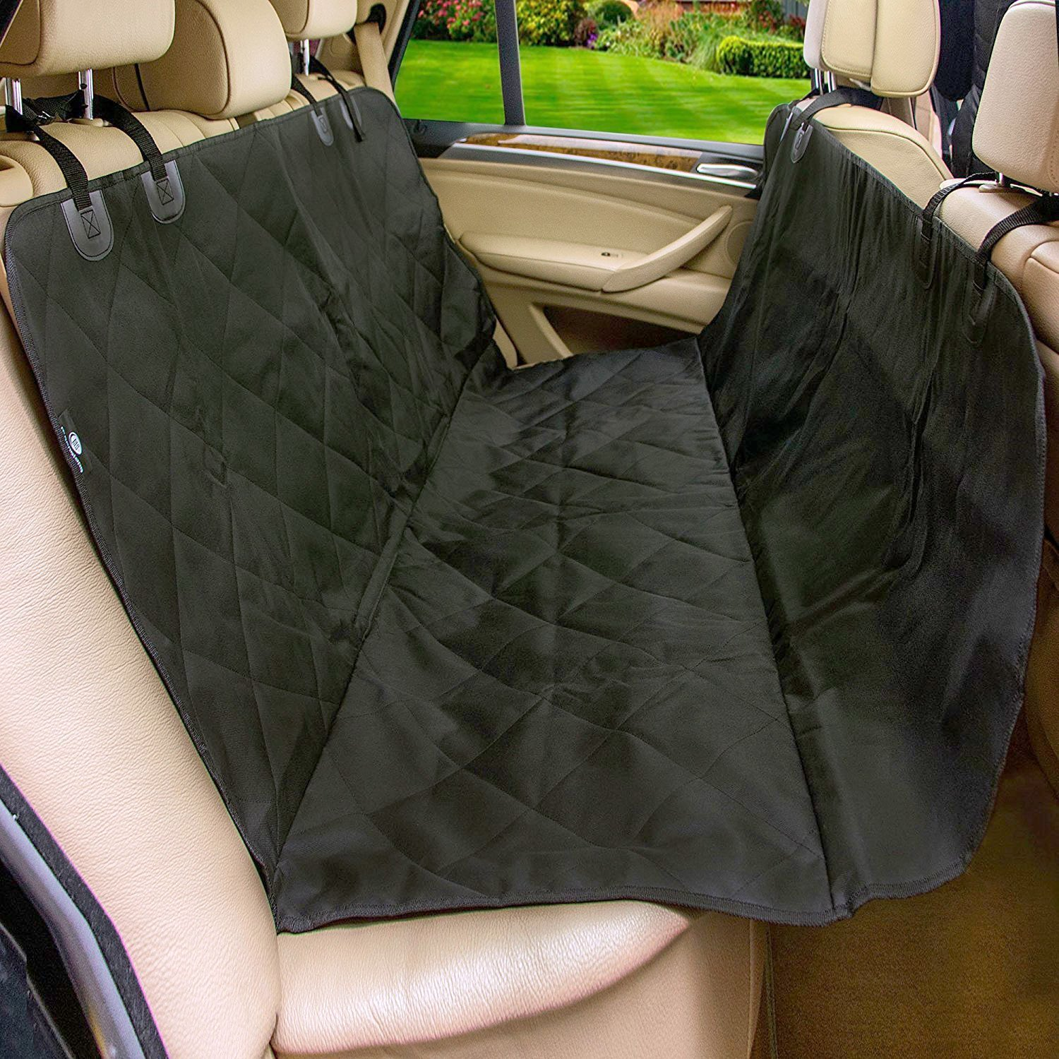 Amazon com pet car seat cover for cars moonsteps waterproof dog hammock seat cover for dogs cars trucks suv s vehicles nonslip backing black pet