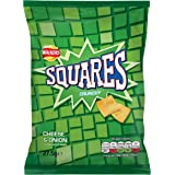 Walkers Squares Cheese and Onion Snacks, 27.5 g, Pack of 32