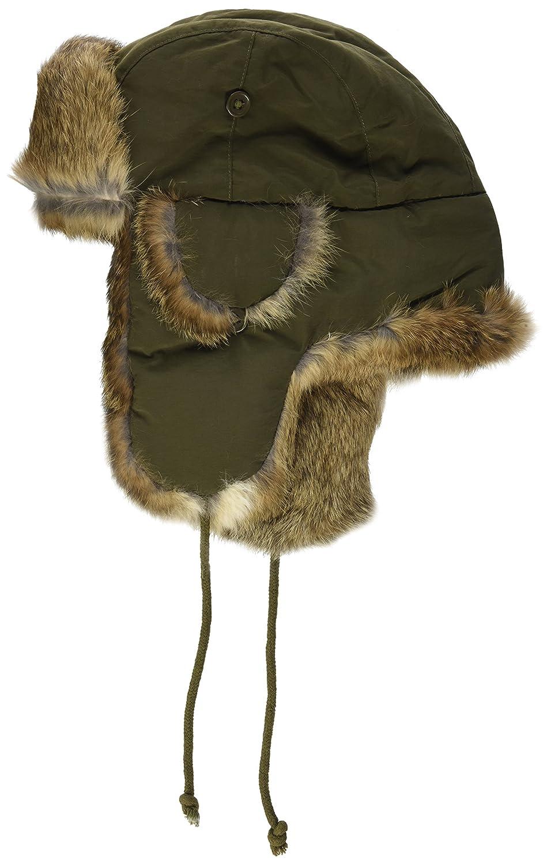 MFH Invierno gorra Olive con Marrón piel de conejo