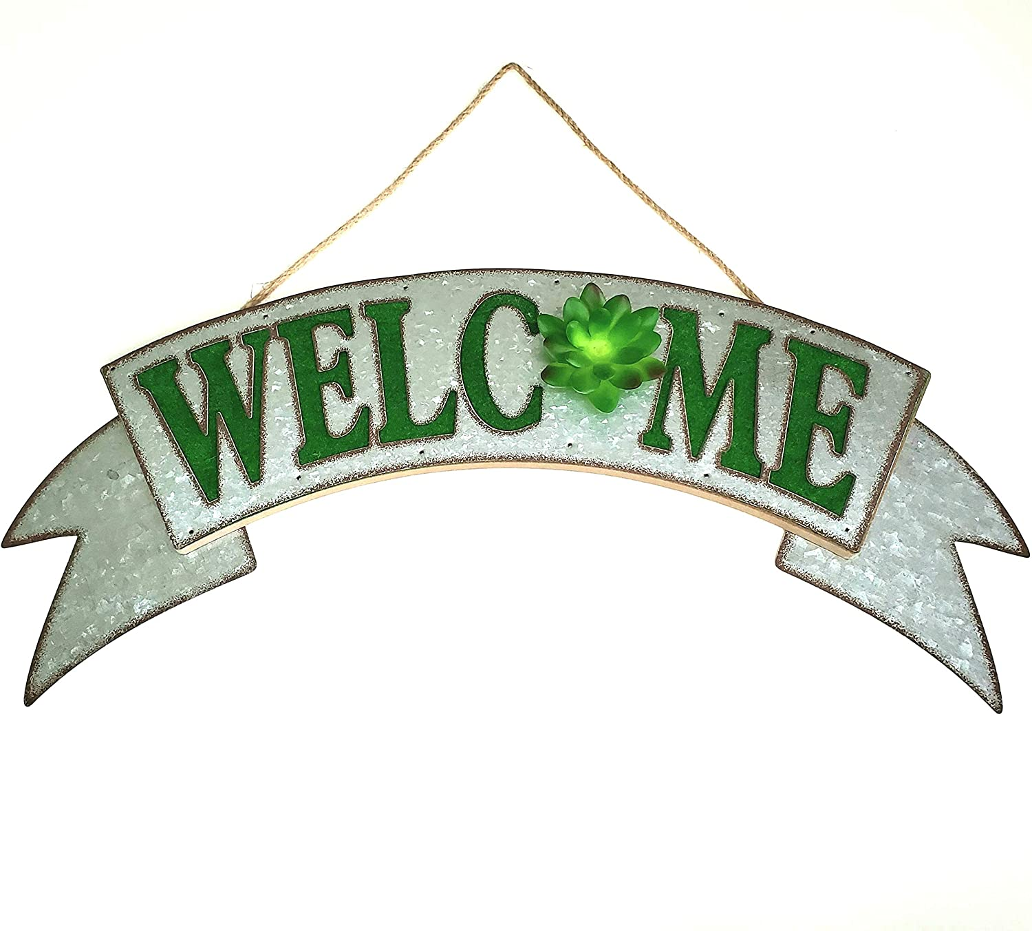 Rustic Farmhouse Welcome Sign Galvanized Metal Sign Green Lettering with 3-D Green Succulent Accent for Entrance, Porch, Patio, Wall Decor, Indoor/Outdoor