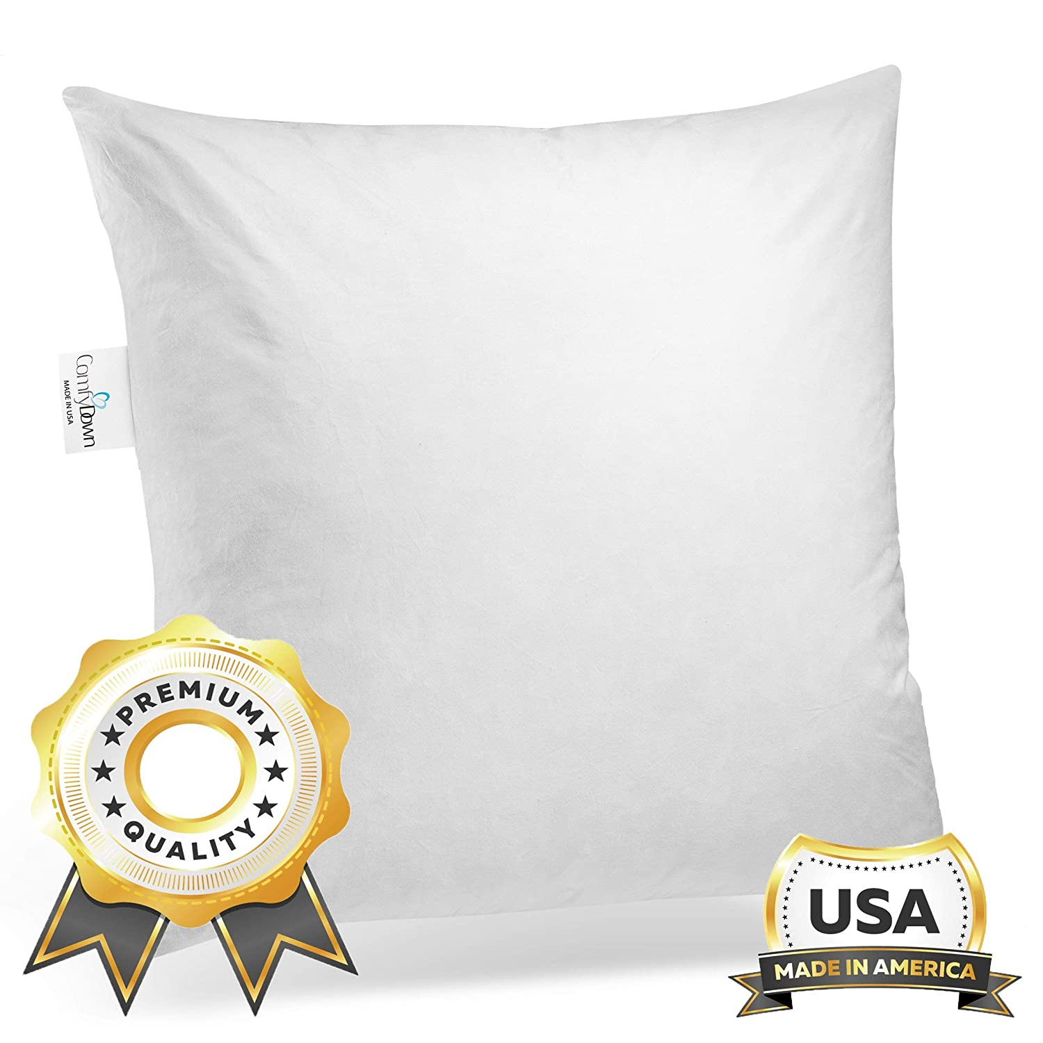 ComfyDown 95% Feather 5% Down, 26 X 26 Square Decorative Pillow Insert, Sham Stuffer - Made in USA