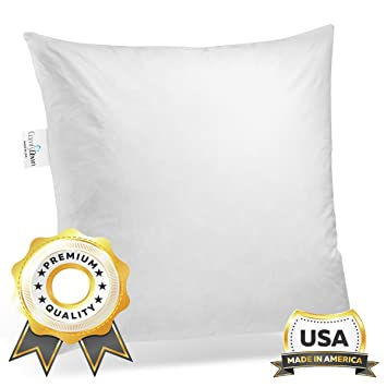 16 By 16 Pillow.Comfydown 95 Feather 5 Down 16 X 16 Square Decorative Pillow Insert Sham Stuffer Made In Usa