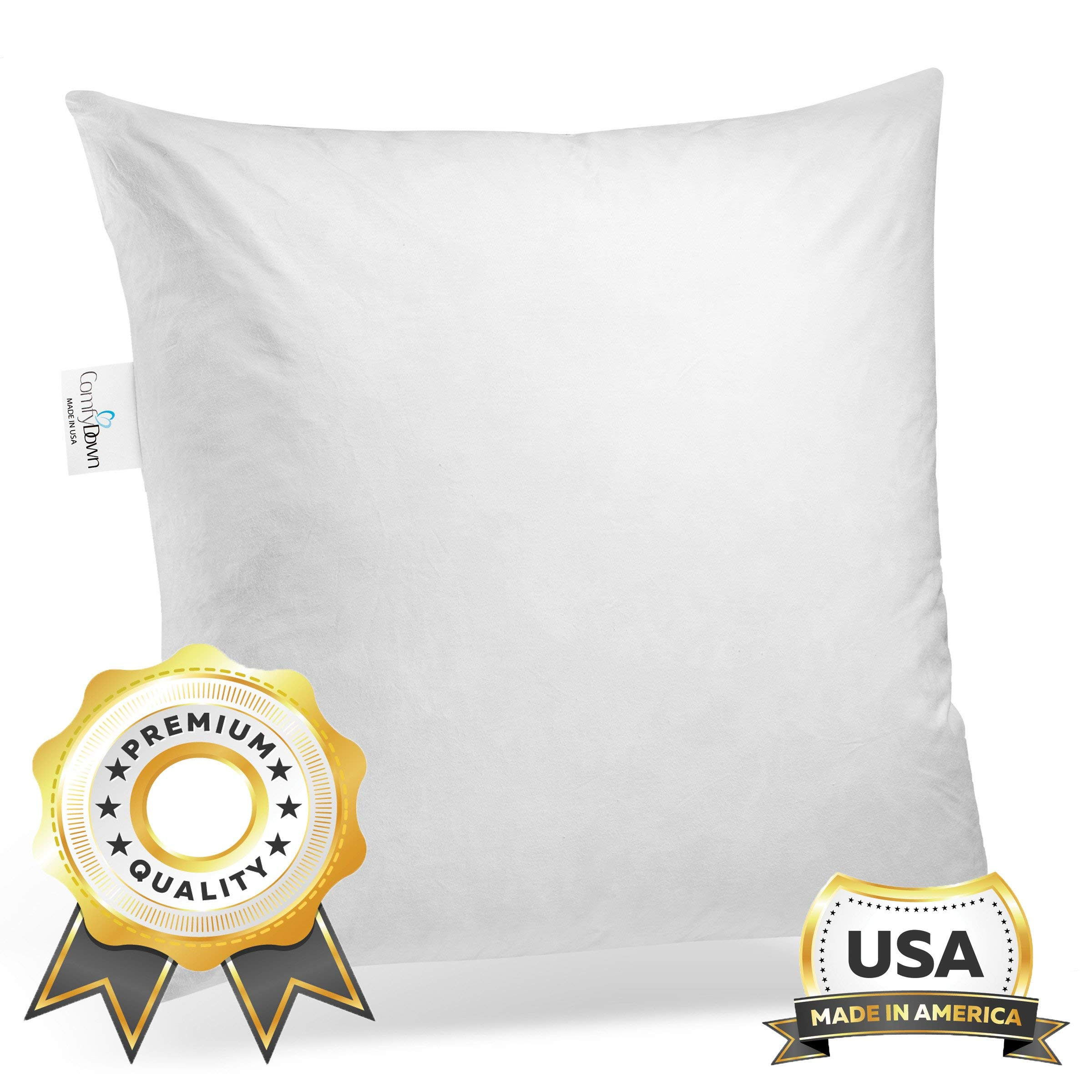 ComfyDown 95% Feather 5% Down, 31 X 31 Square Decorative Pillow Insert, Sham Stuffer - Made in USA