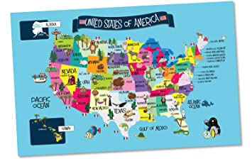 Amazon usa map memory game and activity paper placemats usa map memory game and activity paper placemats learn the states and capitals on 25 gumiabroncs Choice Image