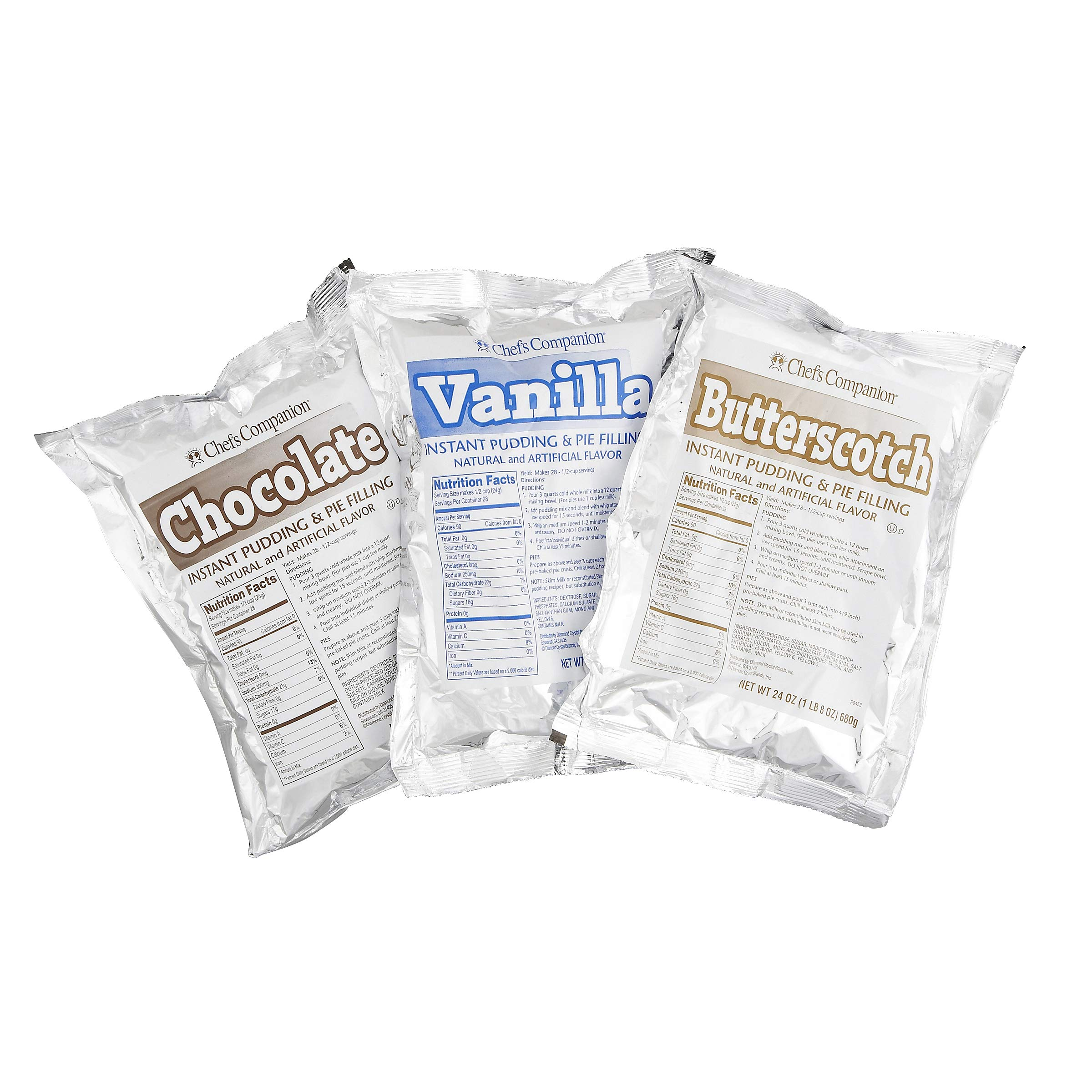 Chef's Companion Assorted Instant Pudding Mix (Chocolate, Vanilla, Butterscotch) 24 Oz, (Pack of 12)