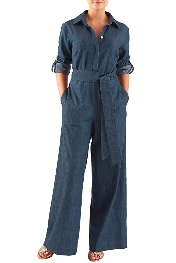 1940s Style Pants & Overalls- Wide Leg, High Waist eShakti Womens Sash tie cotton denim jumpsuit $84.95 AT vintagedancer.com