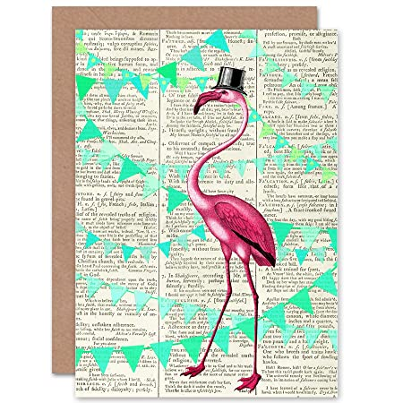 GREETINGS CARD BIRTHDAY GIFT UPCYCLE DICTIONARY FLAMINGO BUNTING PARTY CP2888