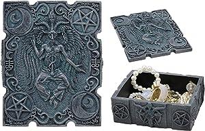 "Ebros 4.5""Long Satanic Sabbatic Goat Baphomet With Crescent Moons And Pentagram Trinket Decorative Box Church Of Satan Small Jewelry Keepsake Altar Items Storage"