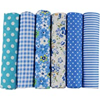 6pcs 50 x 50cm Patchwork Cotton Fabric DIY Handmade Sewing Quilting Fabric Different Designs (Tone-Blue)