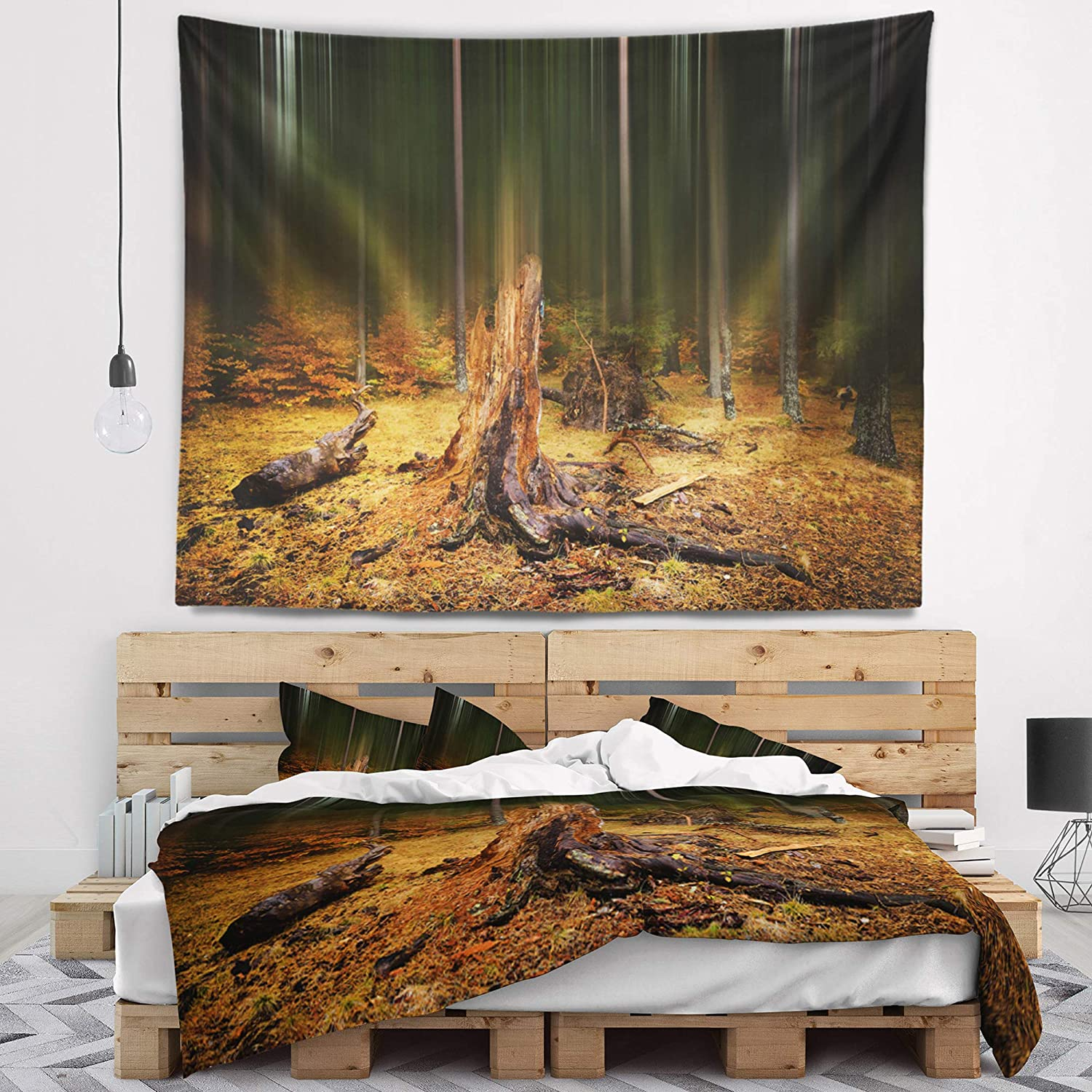 Designart TAP15422-39-32 ' Dark Fall Forest on Foggy Morning' Landscape Blanket Décor Art for Home and Office Wall Tapestry Medium: 39 in. x 32 in. Created On Lightweight Polyester Fabric