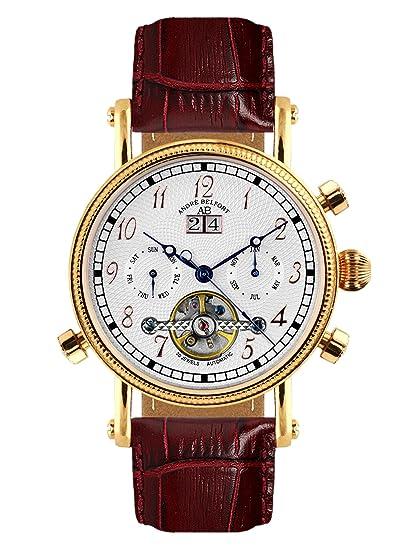 André Belfort 410001 - Reloj analógico de caballero automático con correa de piel marrón - sumergible a 50 metros: Amazon.es: Relojes