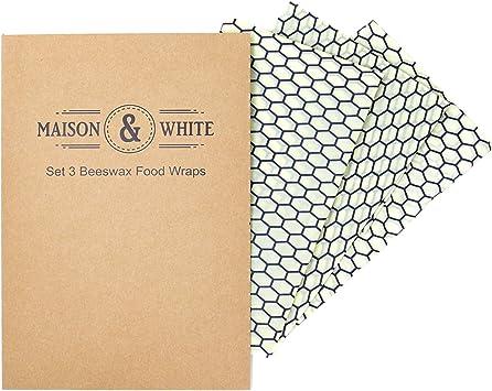 Maison & White Juego de 3 envolturas de cera de abejas | Tela de ...