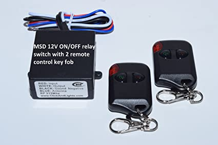 MSD 12V ON OFF relay switch with 2 wireless remote control key fob