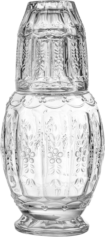 Elle Décor Vintage Glass 2 Piece Carafe Set, 4.7x10.2, Clear